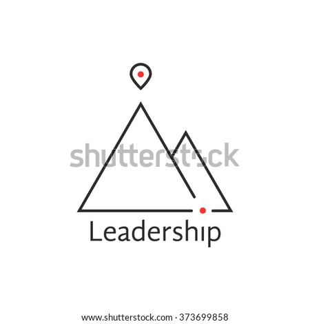 black thin line leadership logo. concept of alpinism, solution, ski, rock, aim, way, map pin, attainment, opportunity. isolated on white background. flat style trend brand design vector illustration - stock vector