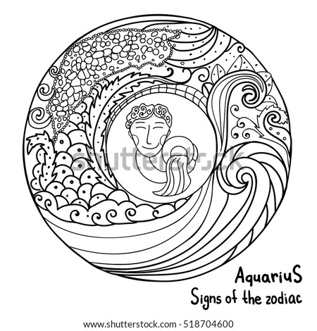 black thin lines abstract signs of the zodiac horoscope hand drawing coloring page
