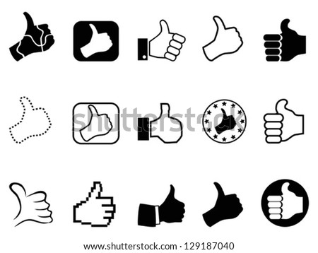 black thumbs up icons set - stock vector