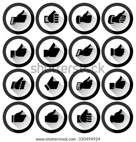 Black thumbs up, set round buttons. Vector illustration - stock vector
