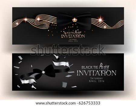 Black Tie Party Invitation Cards Vector Vector 626753333 – Black Invitation Cards