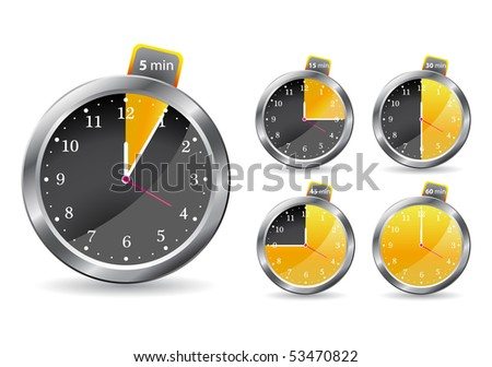 black timer clock. vector illustration isolated on white background - stock vector