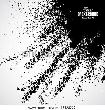 Black tire track banner on white background - stock vector