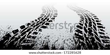 Black tire track on gray background. eps10 - stock vector