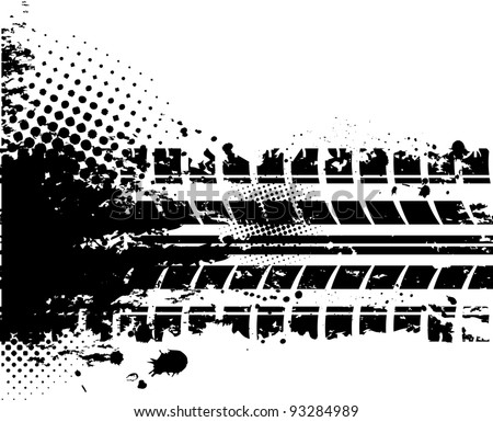 Black tire track silhouette on white background - stock vector