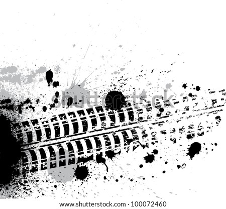 Black tire track with grunge blots - stock vector