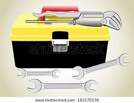 Black toolbox - stock vector