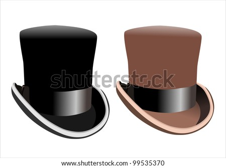 Black top hat isolated on white background - stock vector