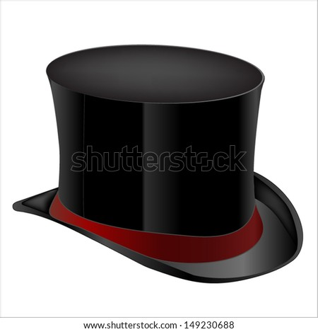 Black top hat on white background  - stock vector