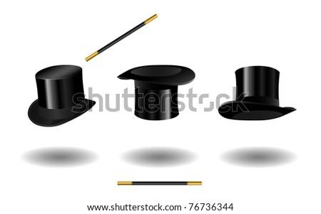 Black top hat set eps8 - stock vector