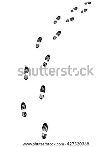 Black trail of shoes, turn right,vector - stock vector