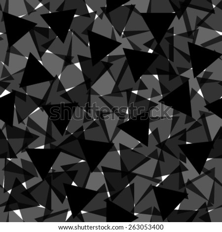 black transparent triangles seamless pattern - stock vector