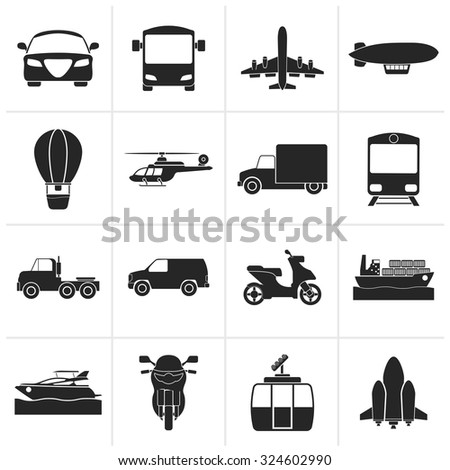 Black Transportation and travel icons - vector icon set - stock vector