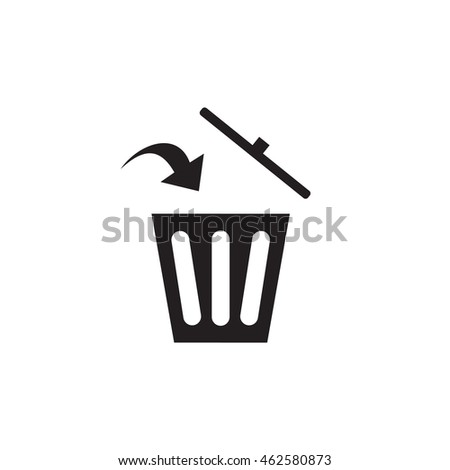 black trash icon for garbage with an arrow that points to where you want to throw garbage, rash can sign, rash can vector