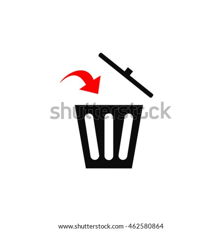 black trash icon to the garbage with the red arrow that points where you want to throw garbage, rash can sign, rash can vector