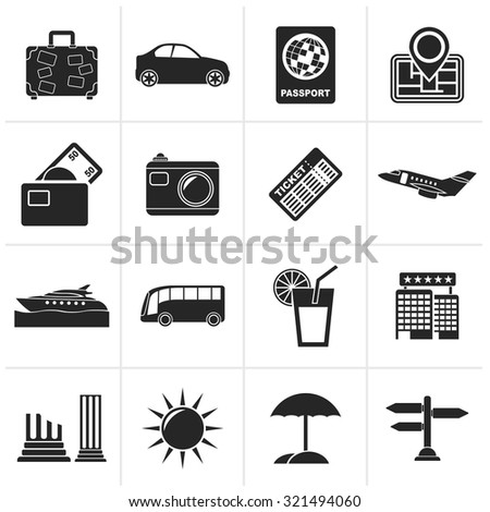 Black Travel and vacation icons - vector icon set - stock vector