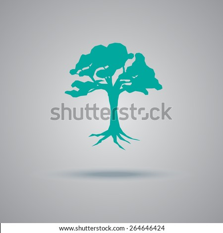 Black, Tree, icon, flat, vector, illustration - stock vector