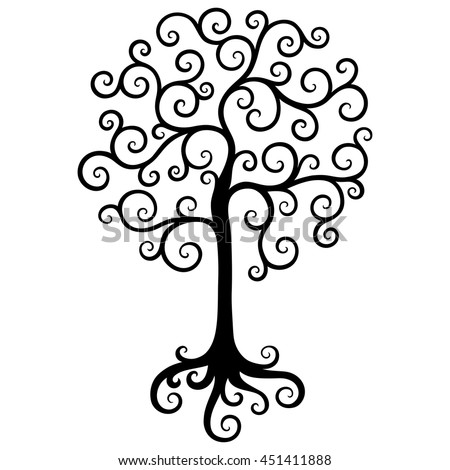 Black tree isolated on a white background.Vector decorative design element.