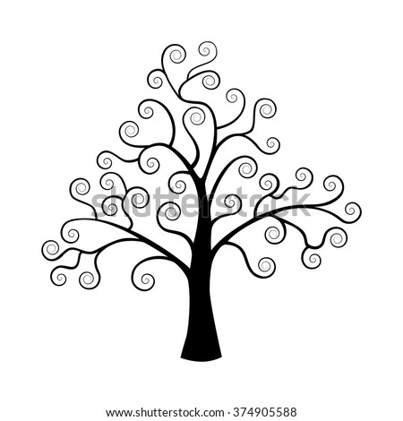 Black tree silhouette isolated on white background.