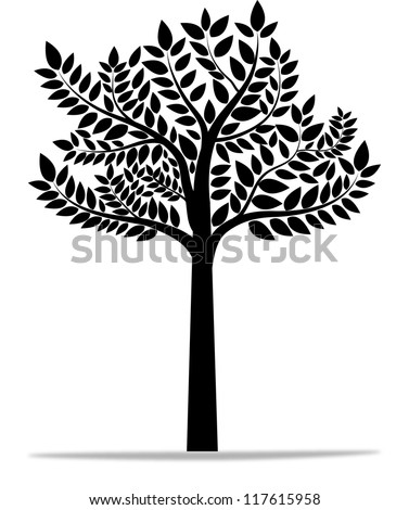 black tree silhouette isolated on white background, vector - stock vector