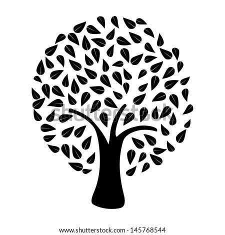 Black tree silhouette on white background . Vector file layered for easy manipulation and custom coloring. - stock vector