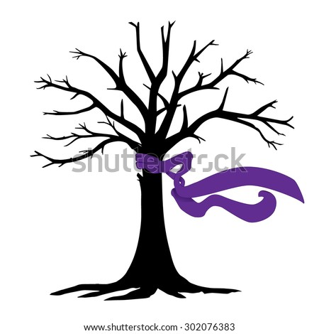 Black tree with a blowing purple scarf.
