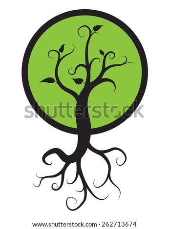 black tree with roots isolated on white background, vector logo - stock vector