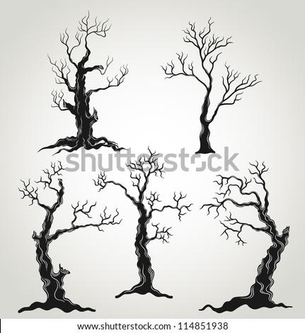 Black trees silhouette isolated on white background. Halloween set. Vector Illustration. - stock vector