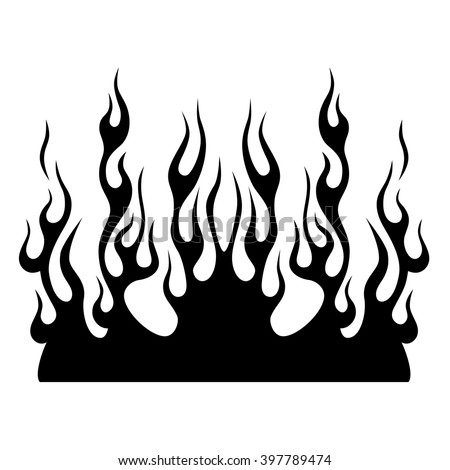 Black tribal flames for tattoo or another design. - stock vector
