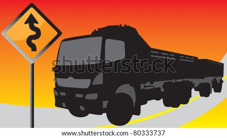 Black truck on the road with signs - stock vector