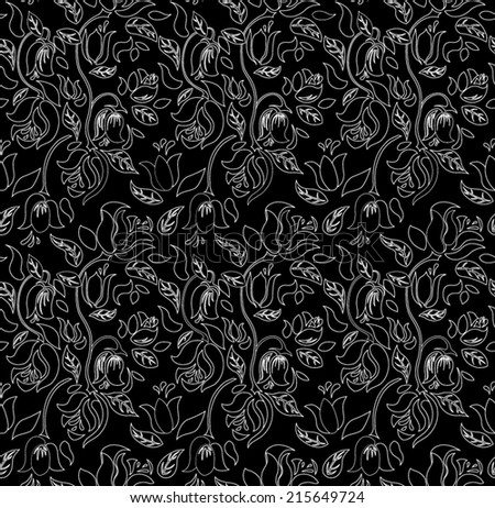 Black tulip and rose floral textile vector seamless pattern