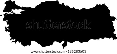 Black Turkey Vector Map