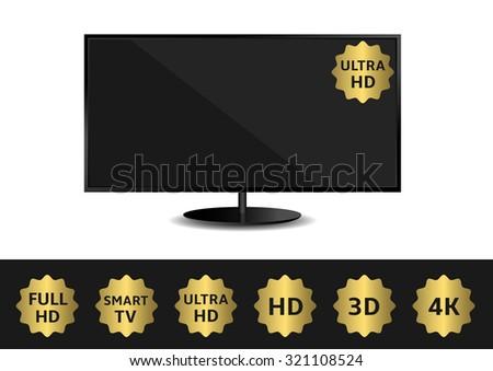 Black TV and golden label set. HD 3D 4K Full HD Smart TV Ultra HD - stock vector