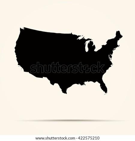 black United States Map Illustration - stock vector