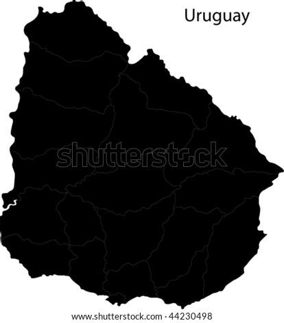 Black Uruguay map with department borders - stock vector
