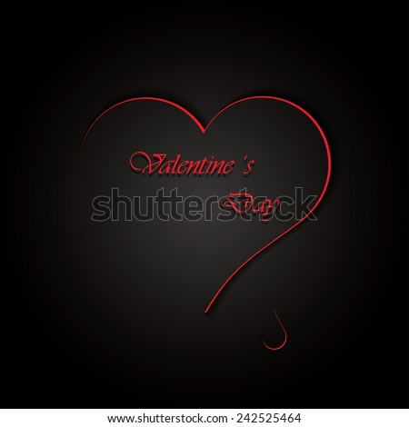 Black Valentine`s day background .Vector - stock vector