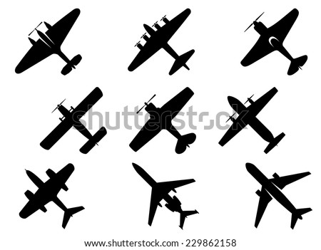Black vector aircraft silhouette icons showing a range of fixed wing and commercial airplanes from below - stock vector