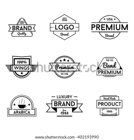 Black Vector Badges Logos - stock vector