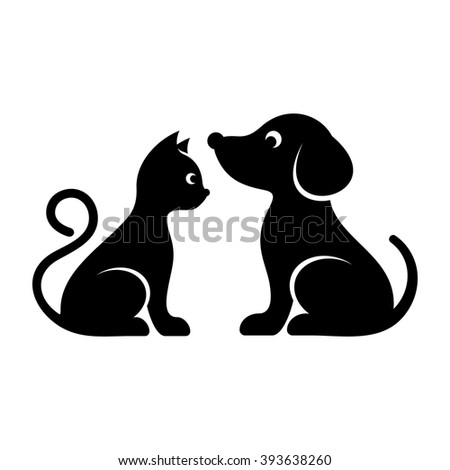 Black vector cat and dog high quality icons - stock vector