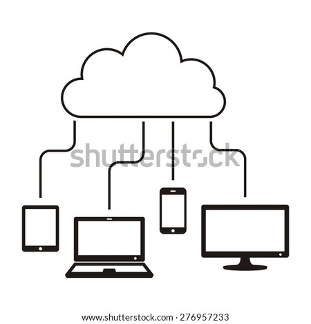 Black vector cloud computing concept with connected devices