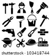 black vector construction icon set - stock vector