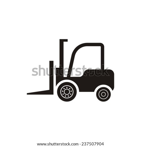 Black vector forklift truck icon on white background - stock vector