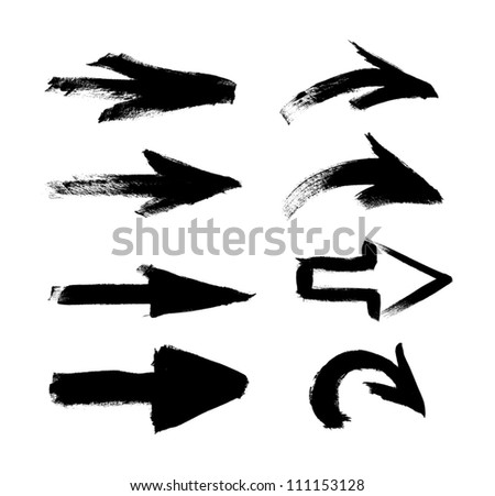 Black vector hand-painted brush stroke arrows collection on black background - stock vector
