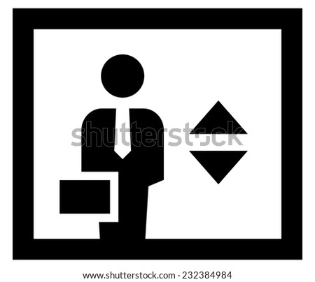 Black vector icon of business person with tie and suitcase in elevator - stock vector