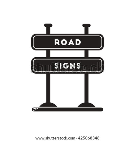black vector icon on white background road sign - stock vector