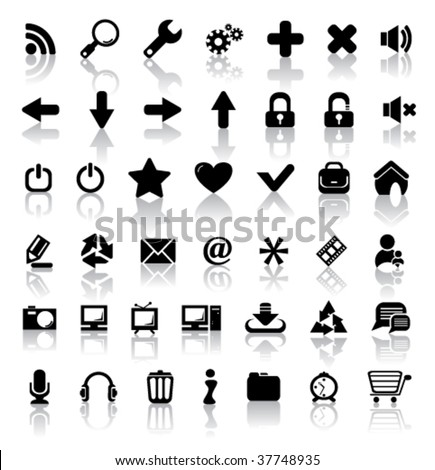 Black vector icons - stock vector