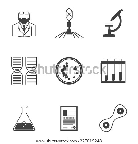 Black vector icons for bacteriology. Set of black silhouette vector icons with elements for bacteriology research on white background. - stock vector