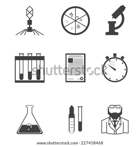 Black vector icons for microbiology. Set of black silhouette vector icons with elements for microbiology laboratory research on white background. - stock vector