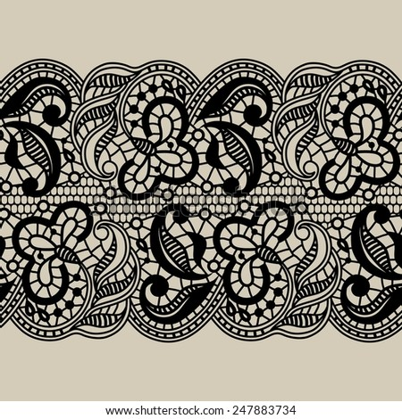 Black vector lace ribbon - stock vector