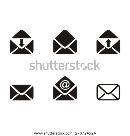 Black vector mail envelope icons on white background - stock vector